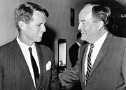 Bobby Kennedy Framed Prints - Robert Kennedy And Hubert Humphrey Framed Print by Everett