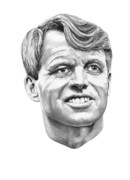 Famous People Drawings - Robert Kennedy by Murphy Elliott
