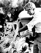 Bobby Kennedy Framed Prints - Robert Kennedy Shaking Hands Framed Print by Everett