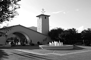 Wineries Photo Prints - Robert Mondavi Napa Valley Winery . Black and White . 7D9029 Print by Wingsdomain Art and Photography
