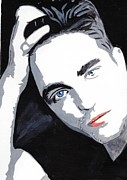 Famous Faces Painting Originals - Robert Pattinson 45 by Audrey Pollitt