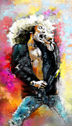 Led Zeppelin Mixed Media Prints - Robert Plant 03 Print by Miki De Goodaboom