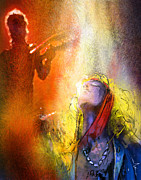 Led Zeppelin Mixed Media Prints - Robert Plant and Jimmy Page 02 Print by Miki De Goodaboom