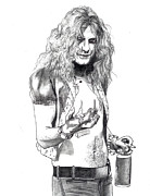 Robert Plant Drawings - Robert Plant by Anthony Warner