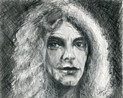 Rock Star Drawings - Robert Plant by Gina Cordova