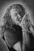 Robert Plant Drawings - Robert Plant by Steve Hunter