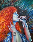 Lead Singer Painting Metal Prints - Robert Plant  Metal Print by Yelena Rubin