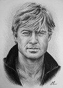 Film Star Drawings Posters - Robert Redford Poster by Andrew Read