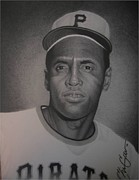 Roberto Drawings Posters - Roberto Clemente Poster by Christian Garcia