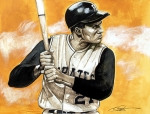 Roberto Drawings Posters - Roberto Clemente Poster by Dave Olsen