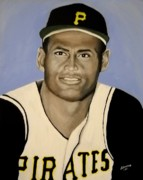 Baseball Glove Painting Framed Prints - Roberto Clemente Framed Print by Edwin Alverio