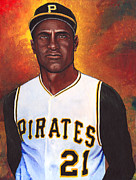 Gold Glove Paintings - Roberto Clemente by Steve Benton