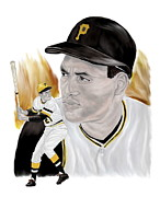 Pittsburgh Pirates Painting Framed Prints - Roberto Clemente Framed Print by Steve Ramer