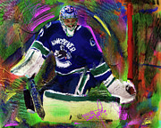 Hockey Painting Originals - Roberto Luongo by Donald Pavlica
