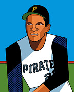 """roberto Clemente"" Digital Art Prints - Roberto Print by Ron Magnes"