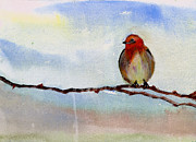 Christmas Holiday Scenery Paintings - Robin 1 by Anil Nene