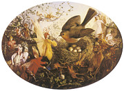 Fairies Framed Prints - Robin Defending her Nest Framed Print by John Anster Fitzgerald