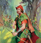 Forest Prints - Robin Hood Print by James Edwin McConnell