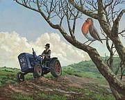 Bird In Tree Posters - Robin In Field Looking At Farmer Poster by Martin Davey