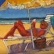 Beach Scene Painting Originals - Robin in her zone by Laura Lee Zanghetti