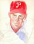 Phillies Drawings Posters - Robin Roberts in progress Poster by Robert  Myers
