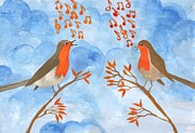 Musical Notes Painting Originals - Robin Singing Competition by Sushila Burgess