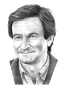 Pencil Portrait Drawings Prints - Robin Williams Print by Murphy Elliott