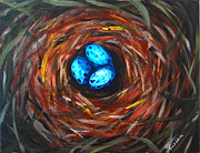 Swift Painting Originals - Robins nest  by Rick Adkins