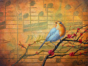 Musical Notes Painting Originals - Robins Song I by Christopher Clark