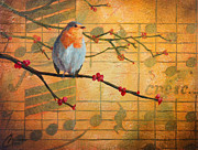 Musical Notes Painting Originals - Robins Song II by Christopher Clark