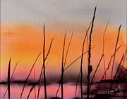 Wet Into Wet Watercolor Prints - Robins Sunset Print by Chris Blevins