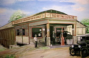 Service Station Paintings - Robinsons Corner by Fred R Daley