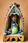 Sculpture Ceramics Framed Prints - Robo Girl Framed Print by Kathleen Raven