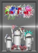 Fireworks Mixed Media Metal Prints - Robo-x9 Celebrates Freedom Metal Print by Gravityx Designs