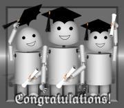 Robo-x9 Mixed Media - Robo-x9 the Graduates by Gravityx Designs