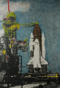Red White And Blue Mixed Media - Robot and the Shuttle by Kenneth Drylie