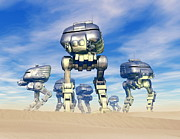 Science Fiction Illustration Framed Prints - Robot Army Framed Print by Victor Habbick Visions and Photo Researchers