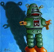 Orange Art - Robot Dream - realism still life painting by Linda Apple
