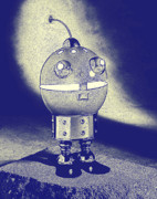 Antique Digital Art Prints - Robot Lamp Print by L S Keely