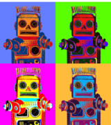 Robots Framed Prints - Robot Quadrant Framed Print by L S Keely