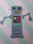 Cartoon Painting Metal Prints - Robot Sr. Metal Print by Ramey Guerra