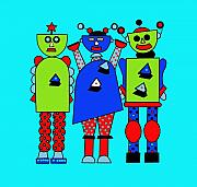 Retro Digital Art Originals - Robot Trio by Lynnda Rakos