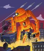 Robot Vs Batman Print by Javier Bernardino