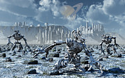 Snow-covered Landscape Digital Art Prints - Robots Gathering Rich Mineral Deposits Print by Mark Stevenson