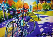 Therese Fowler-bailey Prints - Robs Bike Facing Gaslight District Print by Therese Fowler-Bailey