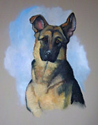 Police Pastels Framed Prints - Robs Dog Framed Print by Joyce Geleynse