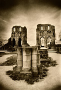 Monotone Prints - Roche Abbey Print by Simon Marsden