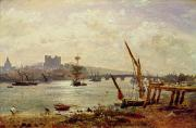 Rochester Prints - Rochester Cathedral and Castle Print by Frederick Nash
