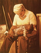 African American Art Pastels Framed Prints - Rock-a-bye Grandma I Framed Print by Curtis James