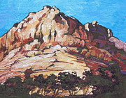 Mountain Valley Painting Framed Prints - Rock Face 2 Framed Print by Sandy Tracey